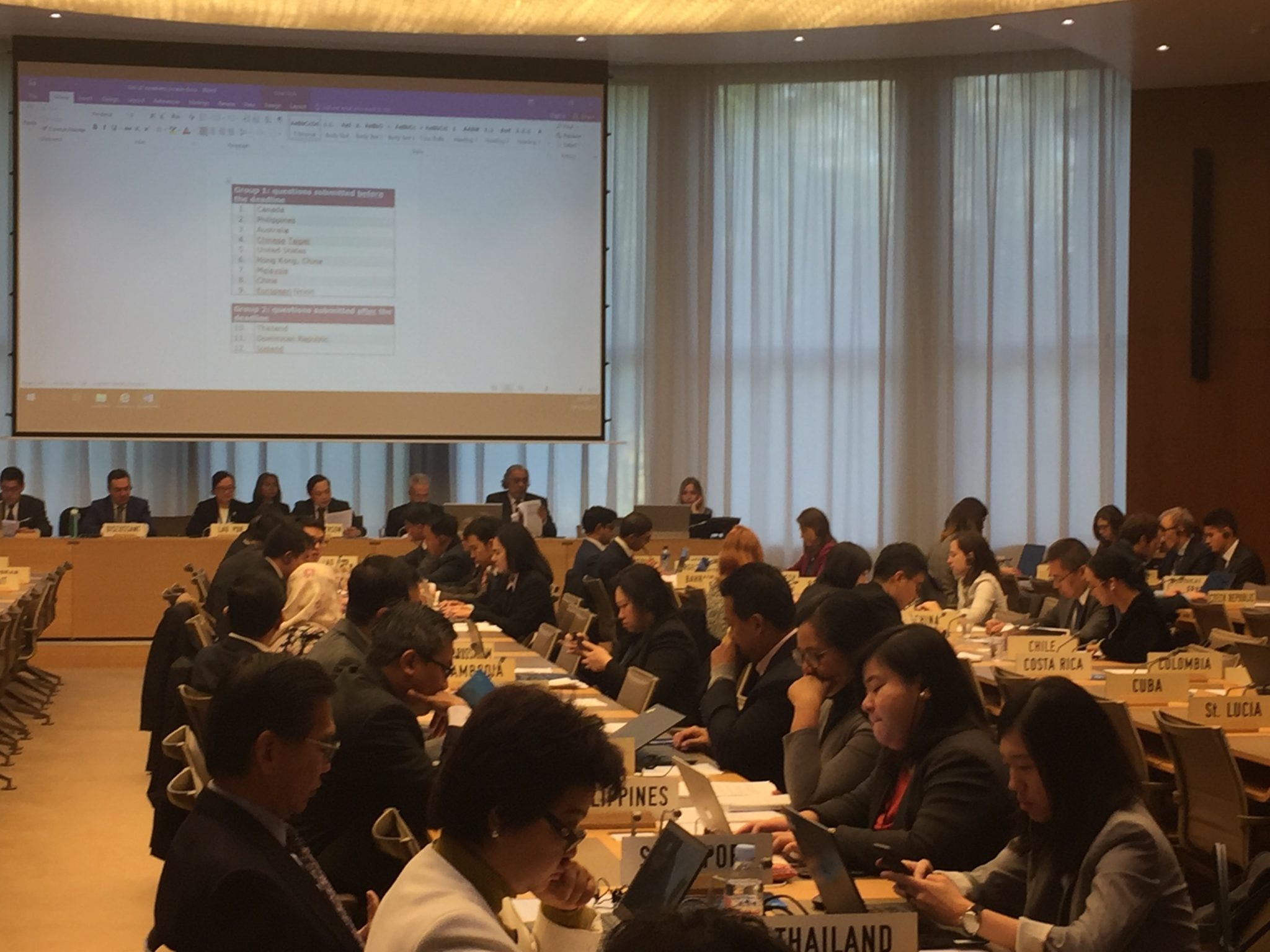 TPR of Lao PDR, WTO Room W, Session 1, 18.11.2019, Opening remarks by the Chairperson.